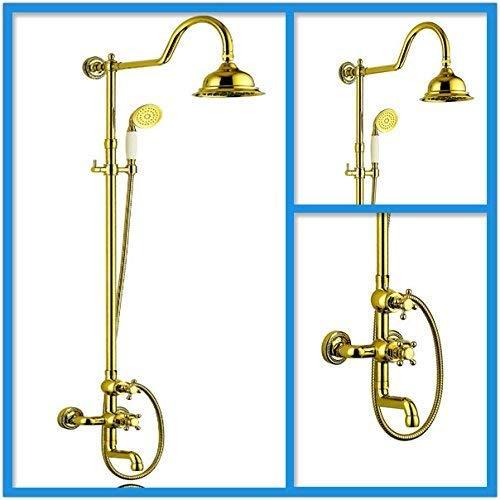 SILOLA Duschsysteme, Wasserhahn Mode Gold Einhand Messing Bad Duscharmatur Set XR-GZ-6013, Weiße Haushaltsdusche Heimwerker
