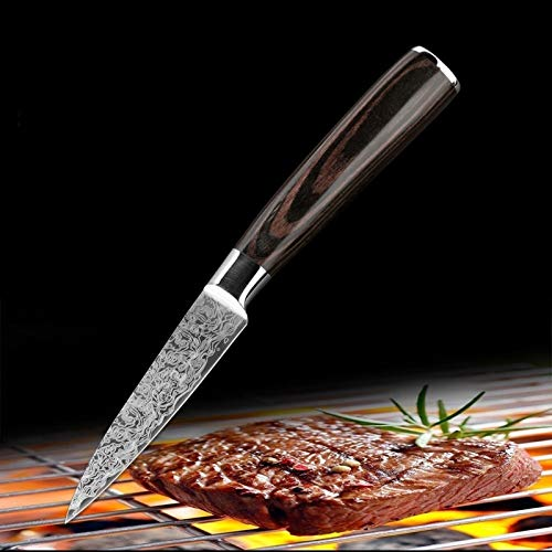 Cocina de acero inoxidable cuchillos japoneses Damasco cocinero Patrón juegos de cuchillas de pelado de la herramienta de utilidad Cleaver Santoku rebanar (Color : 3.5 in paring knife)