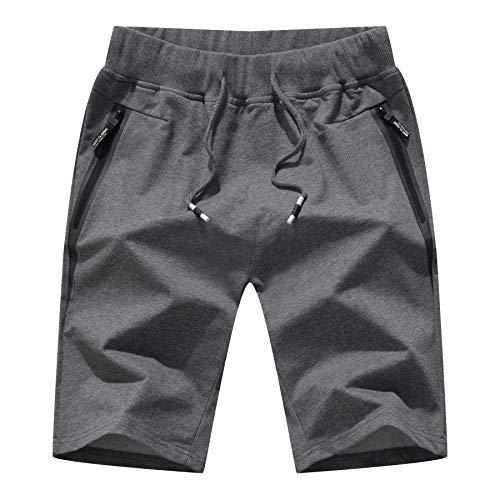Pantalones Hombre Cortos Casual Pantalon Corto Verano Deporte Running Short Hombre Playa Gris Oscuro/M