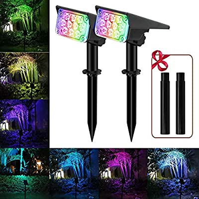 RGB Solar Landscape Spotlights?APONUO Outdoor Solar Spot Lights 7 Colors Changing IP65 Waterproof with Extension Stake Colored Spotlights for Statue Porches Garden Lawn (2 Packs)