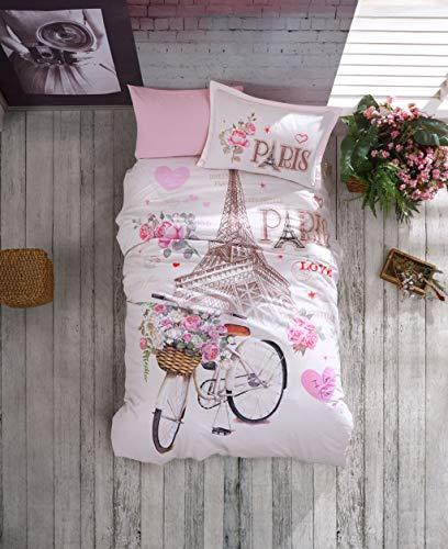 ZIRVEHOME Bettwäsche 135x200 cm. Paris Love, 100% Baumwolle/Renforcé, Reißverschluss