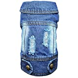 DC.PET Clothes Dog Jean Jacket Dog Denim Blue Vest Coat Shirt Dog Clothes for Small Medium Dogs (XXL, Back Holes)