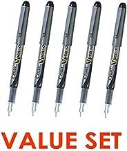 Pilot V Pen (Varsity) Disposable Fountain Pens, Black Ink, Medium Point Value Set of 5(With Our Shop Original Product Description)