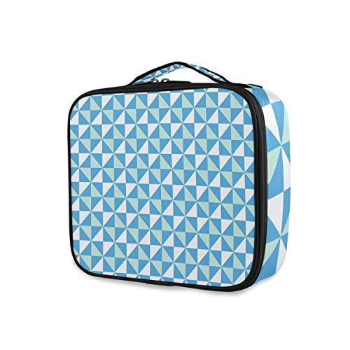 SUGARHE Triangles de Carreaux de Grille avec des Arrangements de Style Contemporain carrés en Bleu,Sac cosmétique Multifonctionnel La beauté