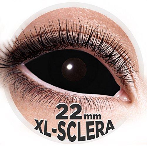 Sclera Kontaktlinsen XL 22mm - 2 Stk. Farblinsen in Top Qualität - Zombie Hexe Vampir Horrorclown - perfekt für Halloween Horror, Fasching, Karneval & Co. - PARTYMARTY GMBH (Schwarz)