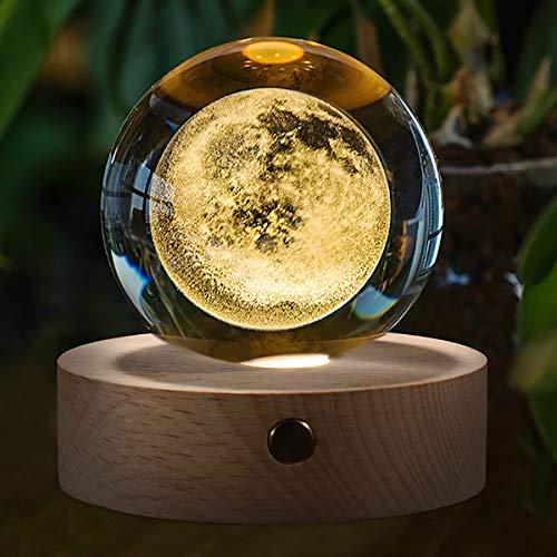 3D Mond Kristallkugel mit Holzsockel, 80 mm Glaskugel für Weihnachten, Geburtstags, Kinder, Home Office Decor Geschenk