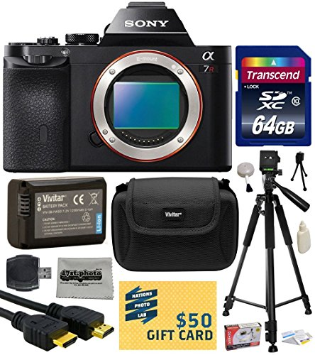 "Sony a7R Full-Frame 36.4 MP Mirrorless Interchangeable Digital Lens Camera - Body Only (ILCE7R) with Best Value Accessories Bundle Kit includes includes 64GB Class 10 SDHC Memory Card + Replacement (1200mAh) NP-FW50 Battery + Professional 60"" Inch Photo/Video Tripod + Hard Shell Carrying Case + High Speed USB Reader/Writer + HDMI Cable + Camera Lens Cleaning Kit + Bonus $50 Gift Card for Digital Prints"
