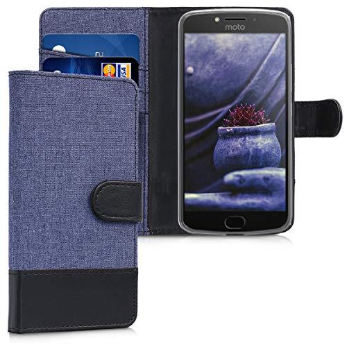 kwmobile Motorola Moto E4 Hülle - Kunstleder Wallet Case für Motorola Moto E4 mit Kartenfächern & Stand - Dunkelblau Schwarz