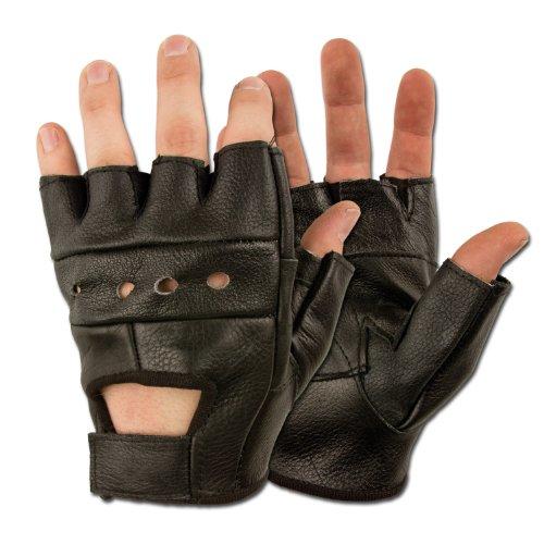 Biker Fingerlinge ohne Nieten, schwarz S-XXL L,Schwarz