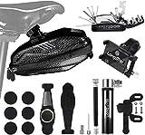 Longmate Bike Repair Tool Kits, Including 16 in 1 Multi-Function Bike Tools, Bicycle Water Resistant Saddle Bag, Bike Phone Mount Holder, Tire Repair Tools and Air Mini Pump for Road Mountain Bikes