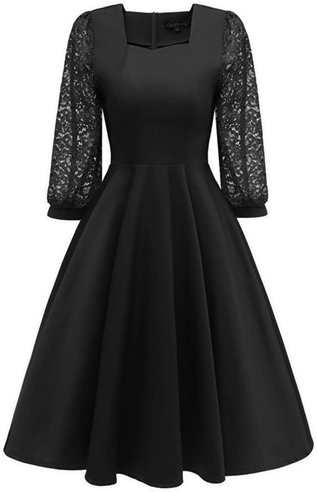 BeneGreat Women's Square Neck Floral Lace 2/3 Lantern Sleeve Cocktail Party Swing Dress