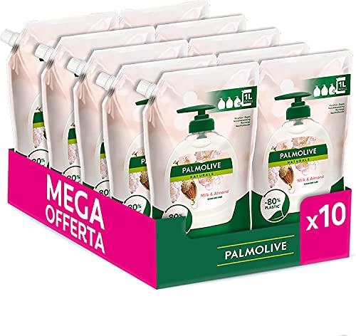 Palmolive Ricarica Sapone Liquido per le Mani Naturals Latte e Mandorla, Cura per le Mani, 10 Pezzi da 1 L