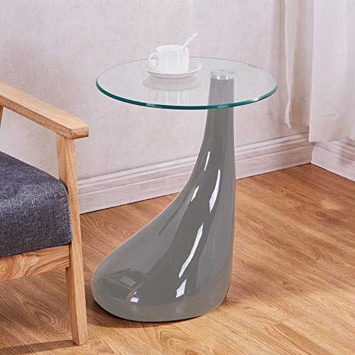 GOLDFAN Beistelltisch Klein Runder Couchtisch Hochglanz Wohnzimmertisch Glas Couchtisch Grau 42x42x55 cm