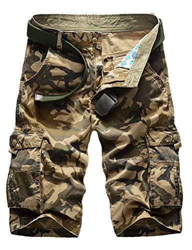 IDEALSANXUN Men's Military Cargo Shorts Casual Loose Fit Multi-Pockets Tactical Cargo Shorts (34, Camo Khaki)