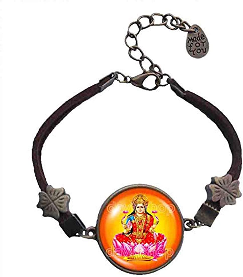 Handmade Fashion Jewelry Lakshmi Bracelet Hindu Gods Goddesses Om Cosplay Charm
