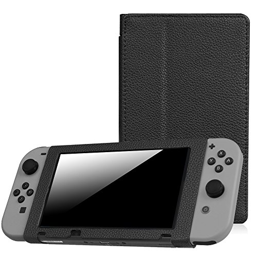 Fintie Protective Case for Nintendo Switch - Premium PU Leather Slim Fit Play Stand Cover for Nintendo Switch 2017, Black