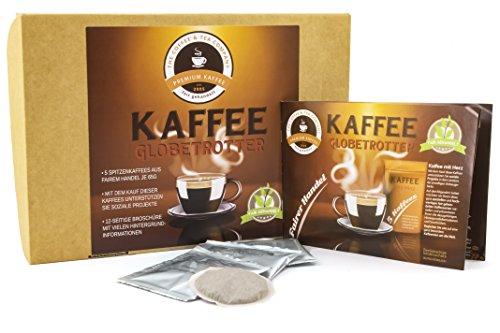 Kaffee Globetrotter - Kaffee Mit Herz Box - 5 Mal 5 Pads Fair Gehandelter Spitzenkaffee Unterstützt Soziale Projekte (Kaffeepads, 5x5 Stck Pads) Geschenk Set - Länder Kaffee aus aller Welt