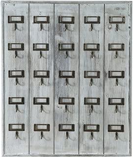 Decorativo in Legno Organizer per Posta con 5 Ganci mensola da Parete per Ingresso corridoio e Ufficio 18 x 9.5 x 3.5cm /æ/— Portachiavi Grigio Appendiabiti e Lettere da Parete