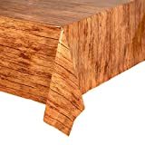 Wood Grain Plastic Tablecloths, Party Table Covers (54 x 108 Inches, 3 Pack)