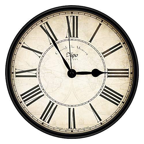 yidenguk Orologio da Parete Retro, Silenzioso Non Ticking Clock Orologio da Parete di Grandi Dimensioni Numero Romano Orologi da Parete Tondo Parete Decorativo (30cm)