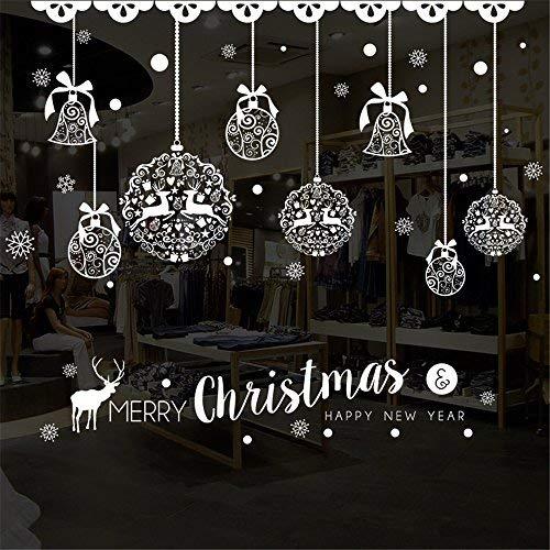 LLonGao Fenstersticker Weihnachten 2020 Weiß Weihnachtsren, Bell und Kugel Bild Aufkleber Fenstersticker Winter PVC-Aufkleber Abnehmbar Fenstersticker Sterne für Schaufenster, Vitrinen, und mehr