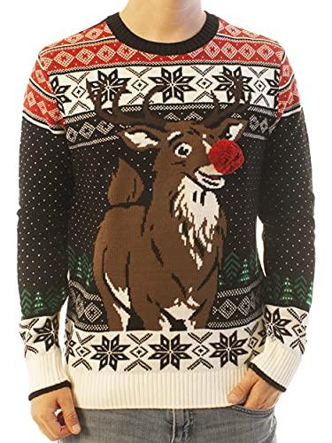 못생긴 크리스마스 스웨터 회사 남성 다양한 동물과 순록 크루 목 크리스마스 스웨터