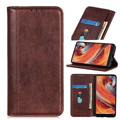 Ufgoszvp Funda para Xiaomi Redmi Note 10 Pro/Note 10 Pro Max, a prueba de golpes, funda de piel sintética, con función atril, ranura para tarjeta de crédito, cierre magnético, color marrón