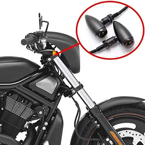 HANEU Motorrad Halogen Blinker Bullet schwarz getönt Chopper Cafe Racer E-geprüft
