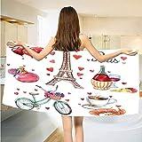 NKK Paris Paris Illustration of Hearts Eiffel Tower Red Wine Coffee Perfume Romance Themed Vermilion Brown Bathing Bathroom Soft Absorbent Travel/Fitness/Swimming Yoga Lightw Pretty 4959