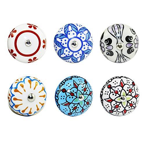 Gobesty Pomello per porta in ceramica, 6 manopole per mobili vintage assortite Maniglie per cassetti in ceramica fiore Maniglie per cassettiera del cassetto della porta del guardaroba dellarmadio