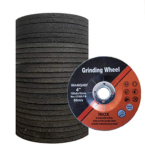 25 Pack Grinding Wheel for Grinders, Center Metal Stainless Steel Grinding Disc Grind Wheel,Aggressive Grinding (4Inch,1/4' Thick, 5/8'Arbor Hole)