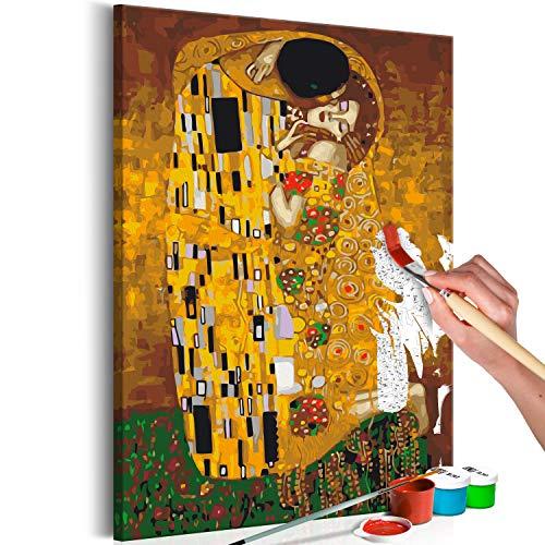 murando Schilderen op Nummers Gustav Klimt de Kus 40x60 cm Kleurboeken met Cijfers Canvas Schilderen Set met Houten Frame voor Volwassenen en Kinderen DIY Afbeeldingen Geschilderd Decoratie Cadeau n-A-1059-d-a
