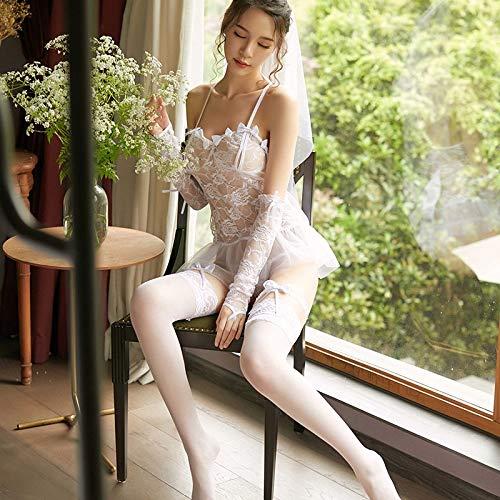HaiNing Zheng Sexy Lingerie Vrouwen Rollenspel Kant Uniforme Perspectieve Verleiding Sexy Bruid Bruidsjurk pak Kleur: wit