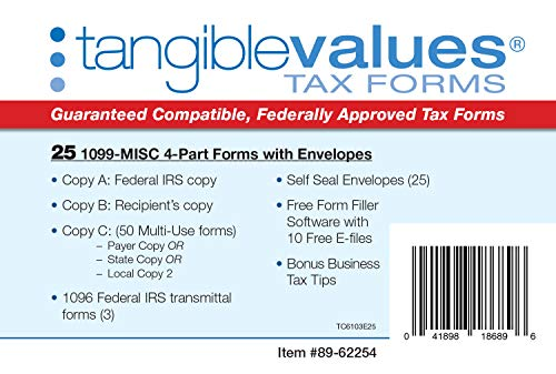1099 Misc Tax Forms 2019 - Tangible Values 4-Part Kit with Envelopes - Software Download Included, 25 Pack Photo #3