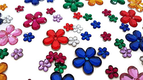 Playscene Craft Jewels With Self Adhesive Back, Flower Theme - 100 Gram Set (Multicolored Flowers)