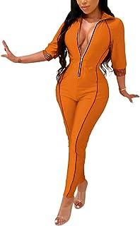 133037e838f Angsuttc Women Zipper Front 3 4 Sleeve Turn Down Collar Bodycon Long Pants  Jumpsuit Rompers
