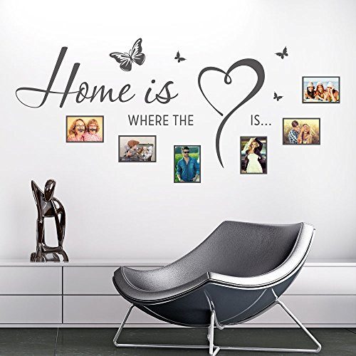 KLEBEHELD® Wandtattoo Fotorahmen Home is where the heart is | Größe 120x54cm, Farbe schwarz