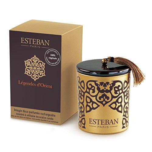 Esteban Paris - Candela decorativa profumata ricaricabile LEGGENDA D'ORIENTE 170g con tappo in ceramica - LEG-030