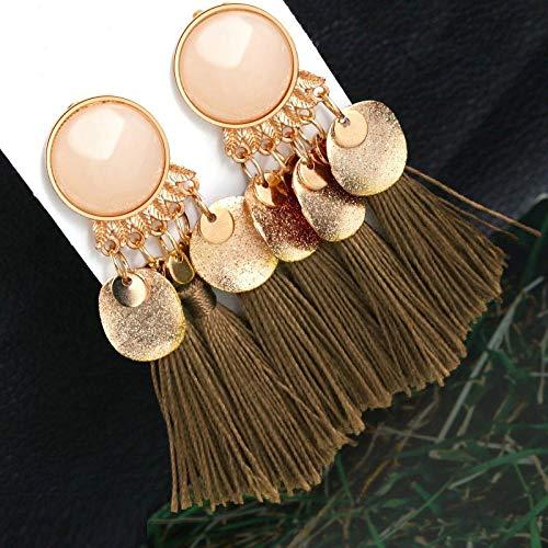 SHUX Ohrringe Böhmische Quaste Kristall Long Drop Ohrringe Für Frauen Rote Baumwolle Seide Stoff Fransen Ohrringe Frau Schmuck-Braun 2