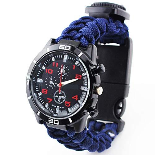 FGFGN Unisex Quartz Horloge met Wijzerplaat Analoog Digitaal Display en Nylon Band Outdoor Zeven-core Paraplu Horloge Kompas Geschikt voor outdoor avontuur reizen klimmen, size, marineblauw