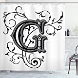 Ambesonne Letter G Shower Curtain, Middle Inspired Uppercase Letter Royal Title Classic Design, Cloth Fabric Bathroom Decor Set with Hooks, 70' Long, Black Grey G