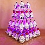 HEXNUB Support à Cupcakes en Acrylique 4 étages Qui s'illumine présentoir à gâteaux et Desserts carré Tour avec lumière LED pour cérémonie de Mariage fête d'Anniversaire Prendre Le thé (Violet)