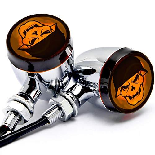 Krator 2pcs Skull Lens Chrome Motorcycle Turn Signals Bulb Indicators Blinkers Lights + KapscoMoto Keychain