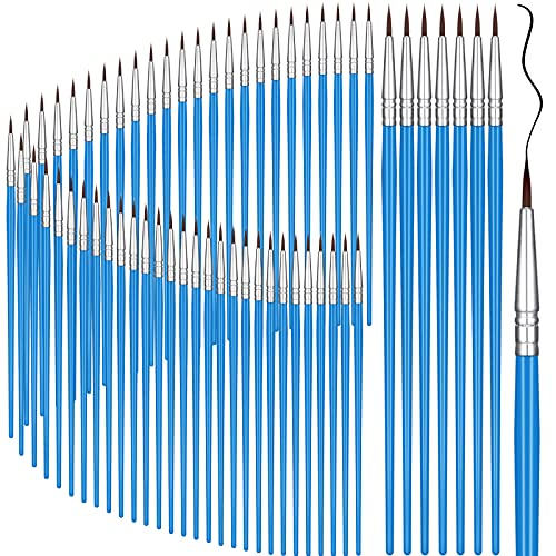 100 Pieces Miniature Detail Paint Brushes Pointed Round Painting Brush Watercolor Fine Tip Nylon Hair Artist Paint Brushes for Acrylic Oil Watercolor, Face Nail Art, Rock Painting, Blue (0.8 cm)