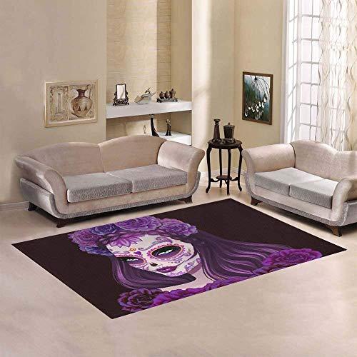 Preisvergleich Produktbild Marlon Kitty Moderne Sammlung benutzerdefinierte schöne Zuckerschädel Frau Tag des Toten Bereichs Teppich Indoor Soft Carpet