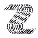 HEIGOO 10 Ganchos para Colgar en Forma de S, Ganchos de Metal en Forma de S de tamaño Mediano, Uso para gabinetes, cocinas, baños, Salas de Almacenamiento, garajes, talleres u oficinas, Plateado