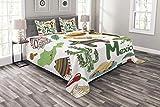 HUNKKY - Colcha mexicana, diseño de pirámide de chile mexicana, diseño de poncho musical, 3 piezas, con 2 fundas de almohada, tamaño King, color verde oliva
