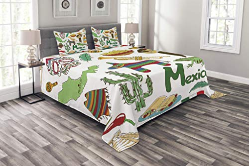 HUNKKY - Colcha mexicana, diseño de pirámide de chile mexicana, diseño de poncho musical, 3 piezas, con 2 fundas de almohada, tamaño queen, color oliva