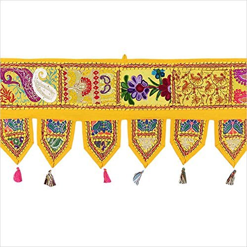 Sophia Art Christams Decorativo 78 Patchwork Ventana Puerta Cenefa Decorativa Tapiz Bohemio Boho Indian Toran (Amarillo)
