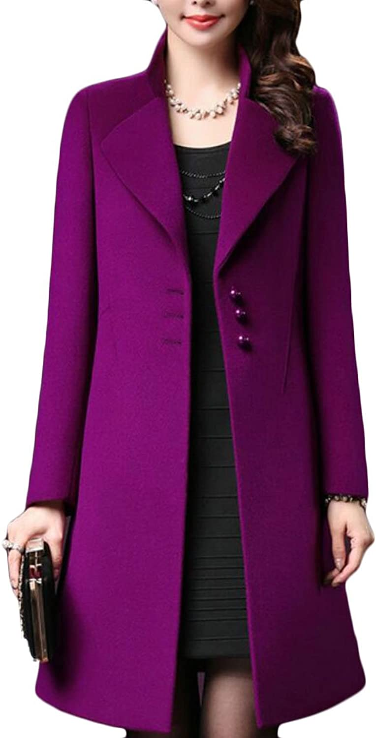 Esast Womens New Elegant Classic Thicken SingleBreasted Lapel Slim Fit Pea Coat Overcoat